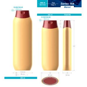 Пластиковые флаконы. Серия 184 - Марсель. 400, 250 мл
