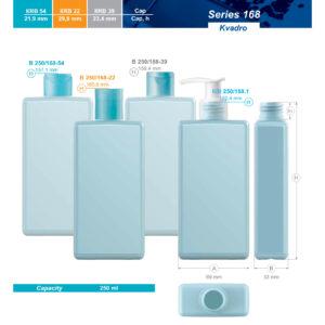 Plastic bottles. Series 168 – Kvadro. 250 ml