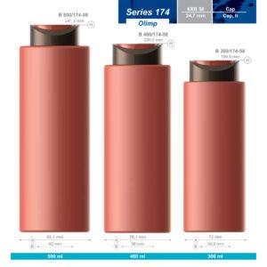 Plastic bottles. Series 174 – Olimp. 500, 400, 300 ml