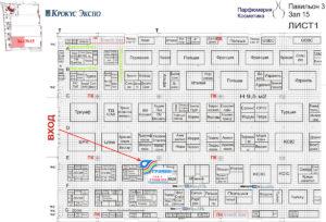 Павильон ООО Громин на план-схеме выставки Интершарм, Москва, октябрь, 2011